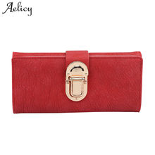 Aelicy 2017 new design pu leather wallet female fashion wallets women long design wallet purse three fold wallet women's purses(China)