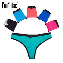 Buy FUNCILAC Sexy Lace Panties Underwear Women Thongs G Strings Lingerie Culotte Femme Panty Stringi Damskie Tangas 5pcs/Lot