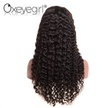 Oxeye girl Lace Front Human Hair Wigs With Baby Hair Deep Wave Brazilian Hair Wigs For Black Women Natural Black None Remy Hair(China)