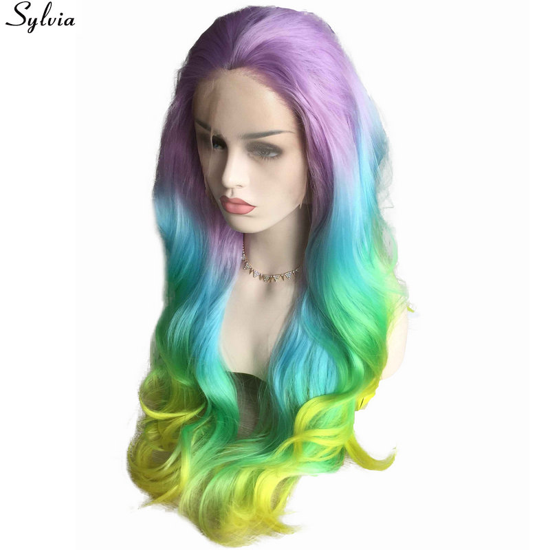 pastel purple blue green yellow colorful rainbow synthetic lace front wigs (1)