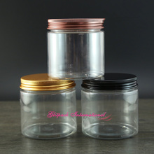 30pcs/lot 7oz Clear skin care packaging design 200m Round beauty containers 200g Metal Lid Lined Aluminum,PET packaging jars