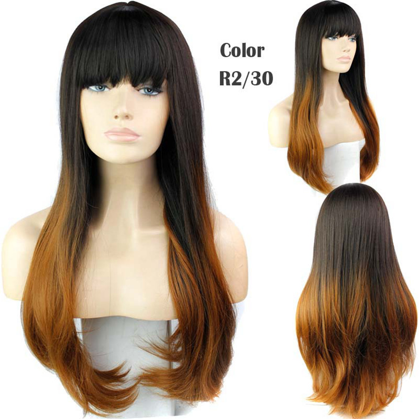 New Available cheap two-tone big wave wig with full bang wavy synthetic wigs for black women ombre celebrity Curly wig<br><br>Aliexpress