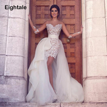 Wedding-Dress Two-Piece Detachable-Train Appliqued Lace Long-Sleeves Boho Bride Scoop