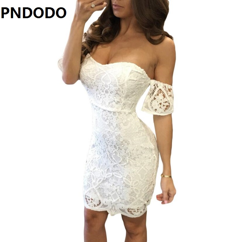 2017 Summer Womens romantic dress Off Shoulder White Lace Dress Casual Hollow Out Floral DressesVestidos De Fiesta Robe