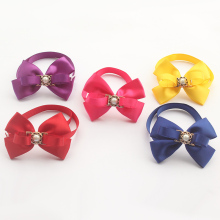 Armi store Handmade Simple Pure Color  Ribbon Dog Tie Dogs Bow Ties 6031023 Pet Holiday Grooming Collar Wholesale