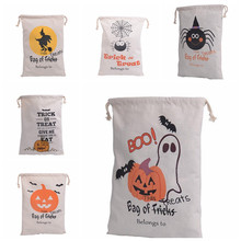 30pcs per lot 100% Cotton Canvas Hand Bag Halloween Sack Halloween Gifts Bags Candy Bags 6 Styles Halloween Sack For Children