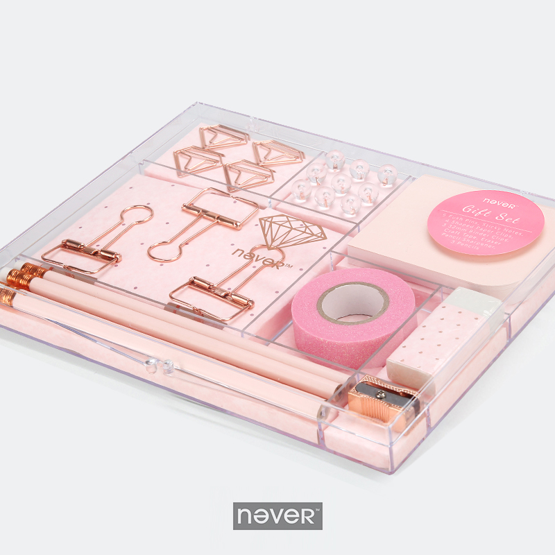 Never Rose Gold Stationery Gift Sets Clips Pin Sharpener Tape Eraser Pencil Set For Children School Office Accessories Supplies<br>