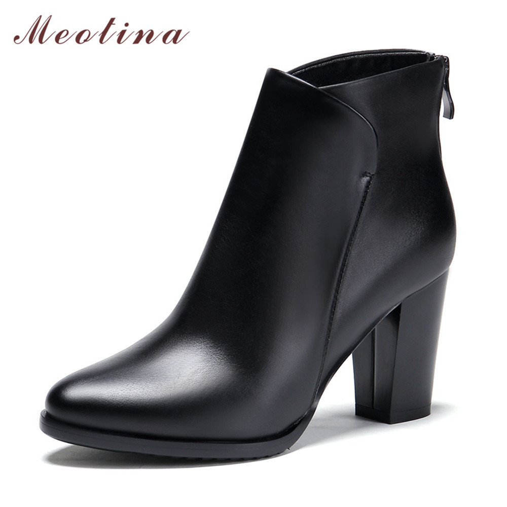 Meotina Genuine Leather Shoes Women Ankle Boots Autumn Thick High Heel Martin Boots Zip Winter Handmade Leather Shoes Boot Black<br>