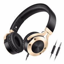 Cinpusen I9 Wired Headphones DJ Stereo Bass Headset With Microphone Big Auriculares For Mobile Phone PC Music Earphones Gold(China)