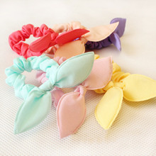 10 Pcs/lot Solid Color New Small Bunny Rabbit Ears Headband Hair Rope Rubber Bands Girls' Kids Cute hair Accessories(China)