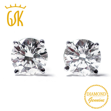 GemStoneKing Diamond-Jewelry 14K White Gold 0.22 Ct Natural Diamond Stud Earrings For Women(China)