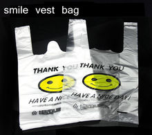 50pcs/lot Recyclable White Plastic Carry Out Shopping Bags Supermarket Smile White Vest Plastic Carrier Shopping Hand Bag