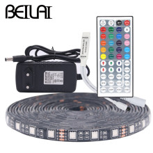 BEILAI SMD 5050 Black PCB RGB LED Strip Waterproof 5M 300LED DC 12V LED Light Strips Flexible Tape Add 3A Power And 44Key Remote