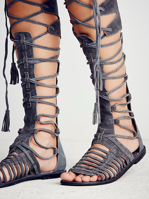 Fashion Gladiator Sandals Women 2017 Brand Design Cut outs Flat Knee High Gladiator Cross-tied Sandals Boots Summer Leisure Shoe<br><br>Aliexpress