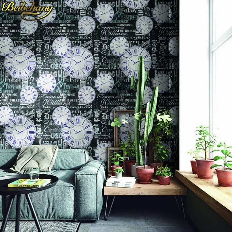 beibehang Retro watch KTV bar papel de parede 3D Waterproof Wall Papers Home Decor Imitation Vinyl Wallpaper For Walls stickers<br>