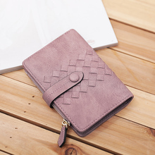 2017 Woman Wallet Card Holder Women Purse New Students Velcro Card Short Pu Knitting Mini Vintage Solid Color()