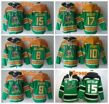 New men's 15 Ryan Getzlaf Hoody 10 Corey Perry 17 Ryan Kesler Hooded 8 Teemu Selanne 9 Paul Kariya Hoodies Green(China)