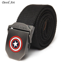 2017 New Captain America Men Canvas Belt Military Equipment Men's Belts Luxury For Men Jeans Fashion Belt Designer Belts(China)