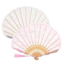 Romantic Lace Trim Bamboo Hand Fan Folding Fan Pocket Dancing Fan Home Wedding Decor Party Supplies