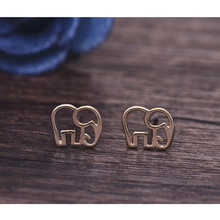 Womens Silver Jewelry Fashion cute Tiny Elephant Stud Earrings Gift for Girls Friend Kids Lady(China)
