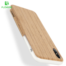 For iPhone 7 Cases FLOVEME Real Smooth Soft Wooden TPU Silicone Protective Phone Cover for iPhone X 7 8 Plus Case Vintage Style(China)