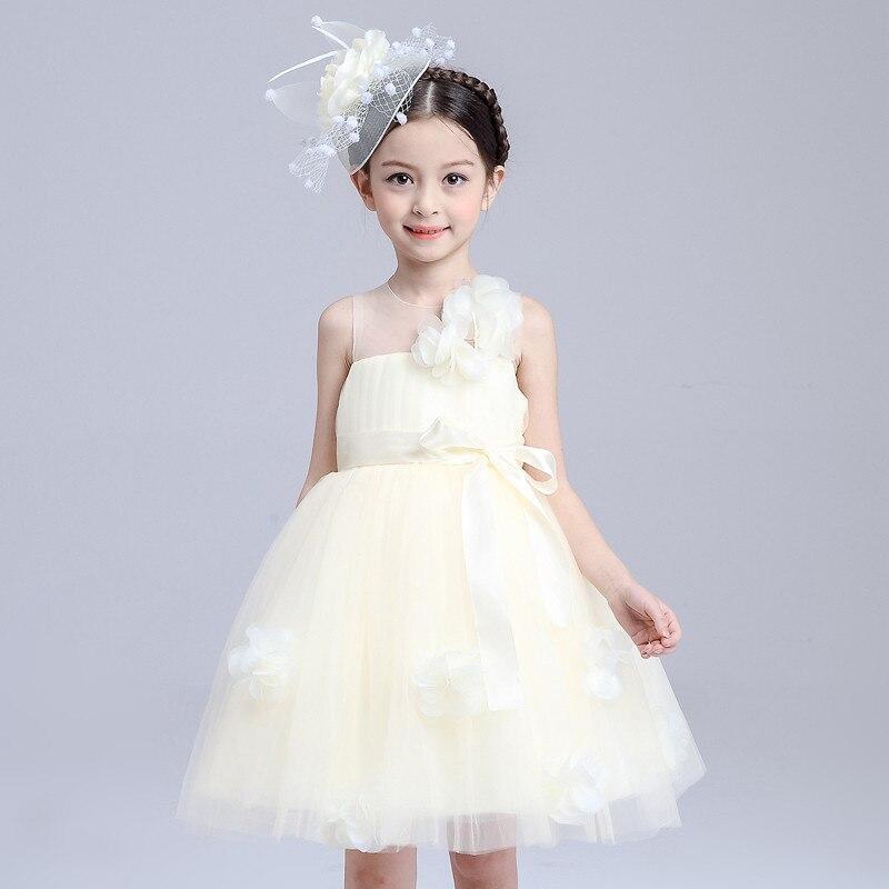 Fashion Flower Bow Mesh Cute Girl Dress Sleeveless Wedding Birthday Party Dress Cloth Costume 8 Year Princess Vest Vestido<br>