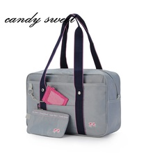 The new Japanese school bag high school student uniforms handbag pink printing cute women have a card bag(China)
