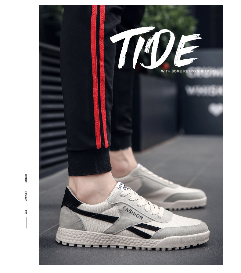 New Fashion Casual Flat Vulcanize Shoes For Men Breathable Lace-up Shoes Footwear Striped Shoes Flax And Cattle Cross Stitching 33 Online shopping Bangladesh