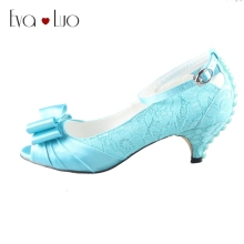 CHS601 DHL Express Custom Made Low Heels Bow Peep Toe Sky Blue Turquoise Lace Women Shoes Dress Pumps Bridal Wedding Shoes