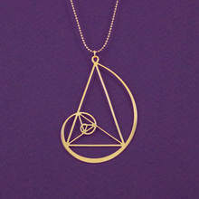 Wholesale Golden spiral with golden triangle necklace Fibonacci pendant golden ratio free ship 12pcs/lot(China)