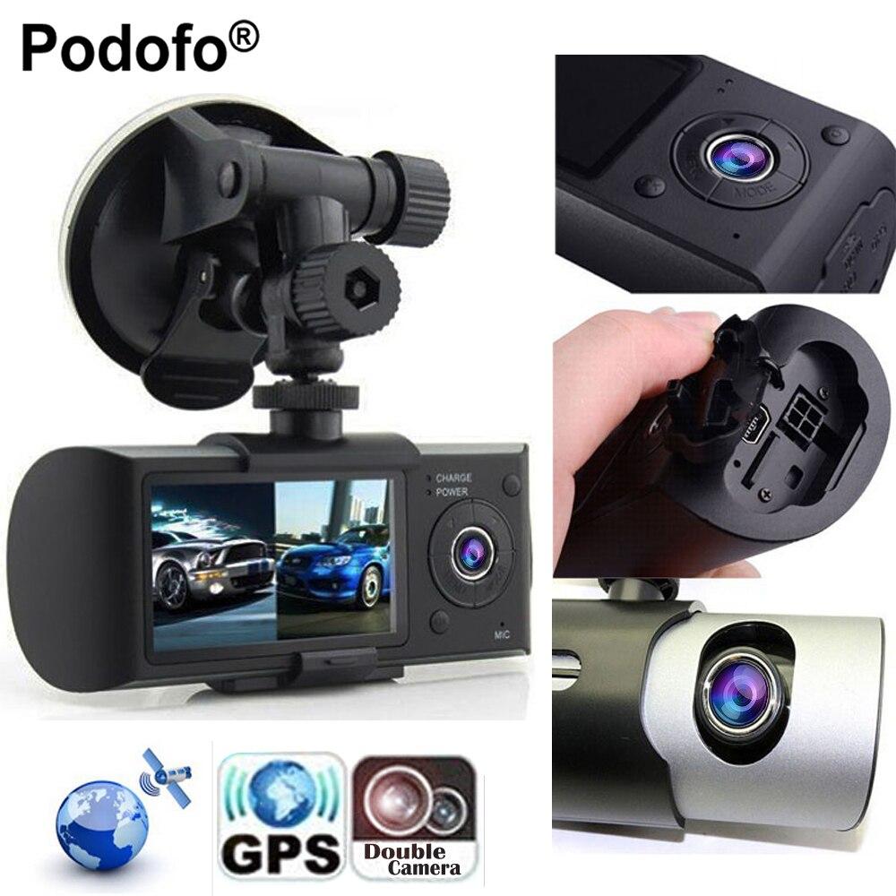 Podofo New Dash Camera 2.7 Vehicle Car DVR Camera Video Recorder Dash Cam G-Sensor GPS Dual Lens Camera X3000 R300 Car DVRs <br>