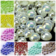 Hot Sale!Free Shipping 100Pcs/lot Size 8mm AB Colors Imitation Pearls Craft Half Round Flatback Beads DIY Decoration