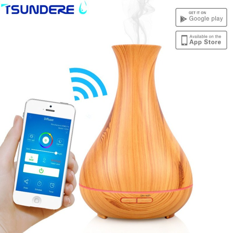 TSUNDERE L 400ML Air Humidifier Smart Wifi Aromatherapy Aroma Essential Oil Diffuser Cool Mist Auto Shut-off Low Noise for Home<br>
