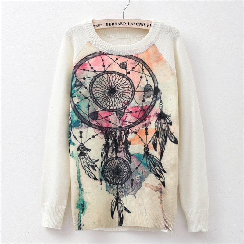 Sweater fashion 18 women's rose printing fashion warm new Sweater Long Sleeve Stretch Pure Sweater Top Fall Winter Pullove 19