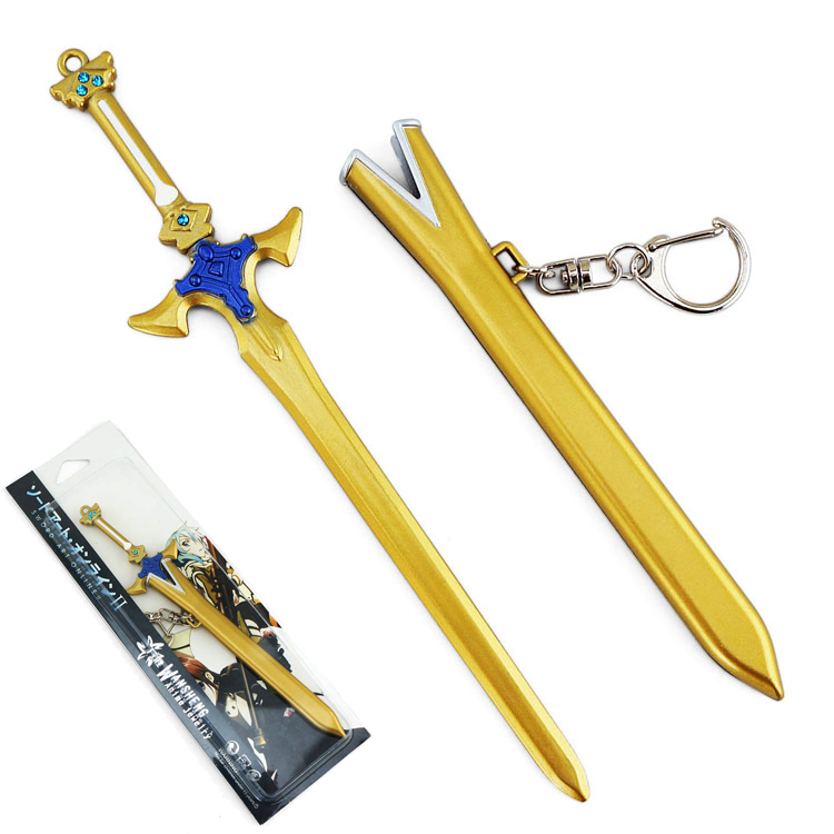 7.08'' Sword Art Online 2 SAO Kirito Golden Sword Excalibur Weapon Figure Cosplay Keychain Key Ring Gift-in Costume Props from Novelty & Special Use on Aliexpress.com Alibaba Group