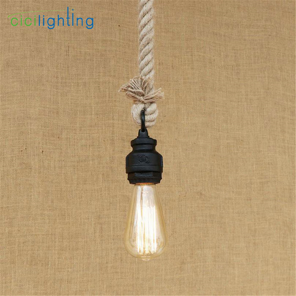 Retro Vintage 120cm Rope Pendant Light Lamp Loft Industrial water pipe pendant Lamp Edison Bulb American Style hanging lighting<br>