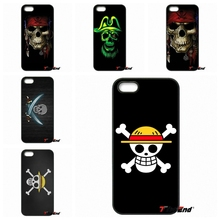 For iPhone 4 4S 5 5C SE 6 6S 7 Plus Galaxy J5 J3 A5 A3 2016 S5 S7 S6 Edge One Piece Straw Hat Pirate Flag Black Phone Case Capa