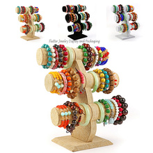 High Quality Style Bracelet Display Stand 3 Layers T Tbar  Watch Holder Ankle Showing Stand Jewelry Showcase Wooden Shelf