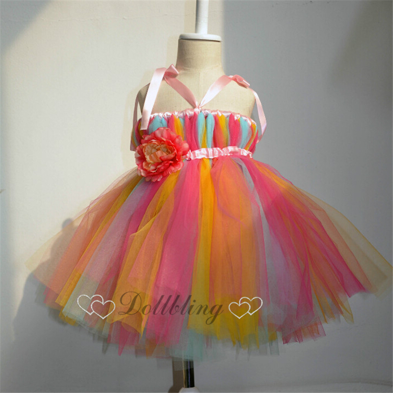 Ellies Bridal Colorfull Little dream Designer dress Pearl beads ballet tutu girl dress Pageant formal celebrity dress 1036<br>