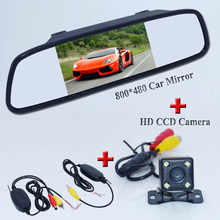"Free shipping 2.4G Wireless Car RearView Camera kit 5"" LCD Color Mirror Monitors + Mini Back Up Camera Parking Night Vision"