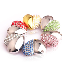 Garunk NEW HOT Metal Crystal Pen Drive 4G 8G 16G 32G 64G Crystal Heart USB Flash Drive USB 2.0 Memory Flash Stick PenDrive
