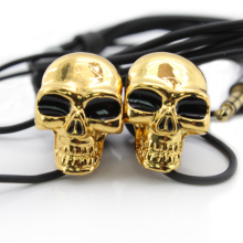 Free Shipping 1Piece 3.5mm Merkury Innovations Cool Skull Stereo Earbud Creative Design Skeleton Headsets Earphones