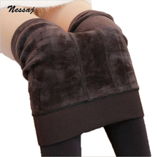 Nessaj Autumn Winter Fashion Women's Plus Cashmere Tights High Quality Knitted Velvet Tights Elastic Slim Warm Thick Tights(China)