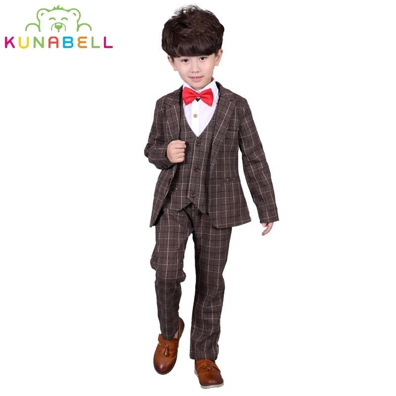 Children Formal Brand Suit Set Baby Boys Suits Kids Blazer Wedding Birthday Party Clothes Set Jackets Vest Pants 3pcs B026<br>