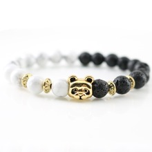 Buy Antique Gold Panda Charm Bracelets New Design Stones Natural Beads Bangle Handmade Men's Accessories Women's Fashion Jewelry for $3.59 in AliExpress store