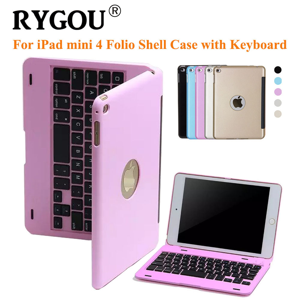 RYGOU Folio Stand Cover Case for iPad Mini 4 with keyboard, Ultra Slim Portable Wireless Bluetooth 3.0 Keyboard for iPad mini4<br>