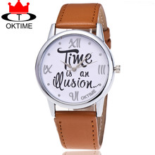 OKTIME Leather Time is an Question Watch Casual Fashion Ladies Women Quarzt Wrist Watches Relogio Feminino 2072(China)
