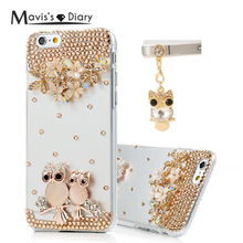 Handmade Crystal 3D Diamond Back Cover Glitter Bling Rhinestone Phone Case For iPhone 6 Plus 5 5S SE For Samsung Galaxy S6 S5 S4(China)