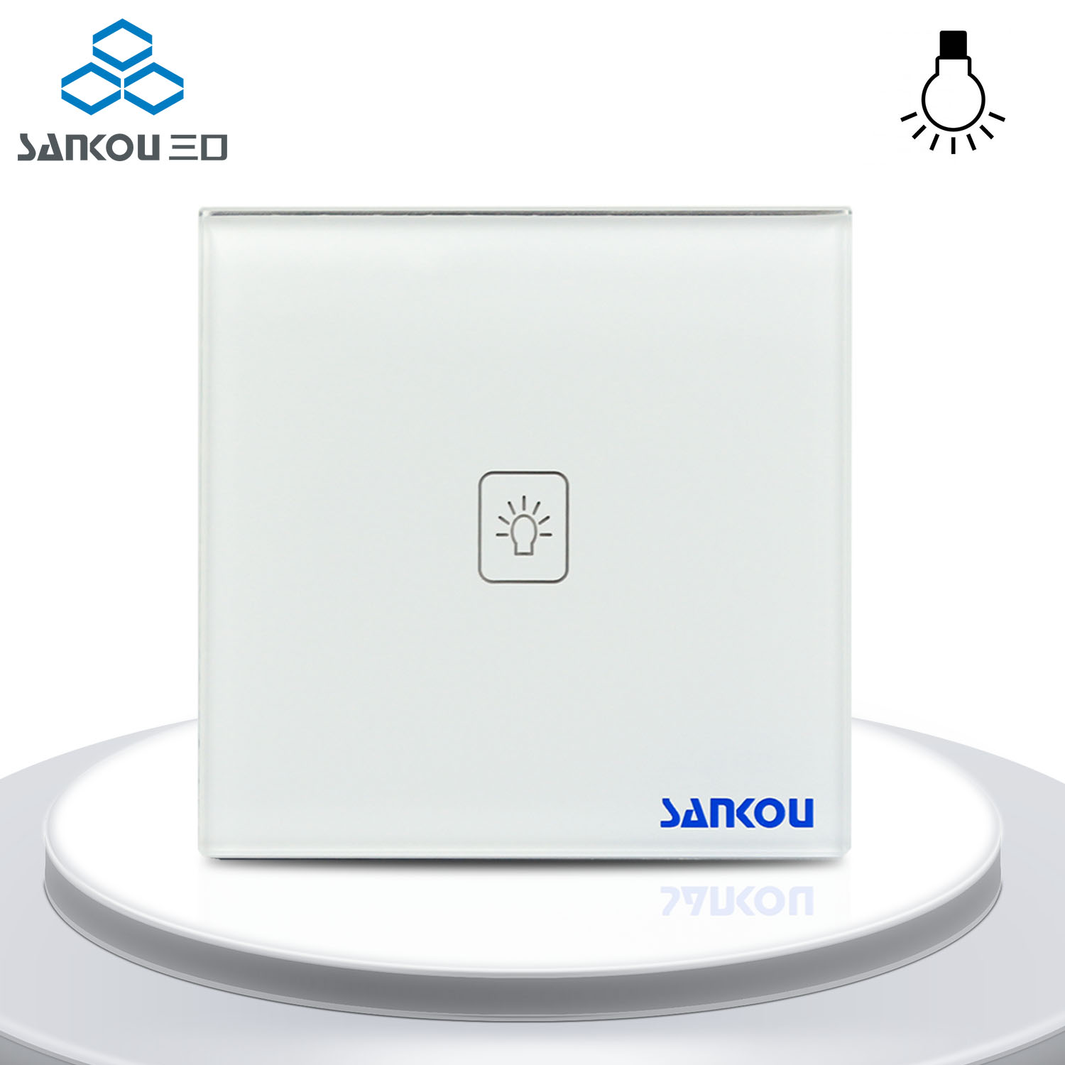 Smart Home Remote Dimmer Switch White Cryatal Glass Panel 1Gang Remote Light Lamps Wall Switches with Controller UK Standard<br>
