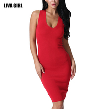 Liva girl 2017 Autumn Women's High Elastic Five Colors Sheath knit Dress V Neck Off Shoulder Bangage Dress